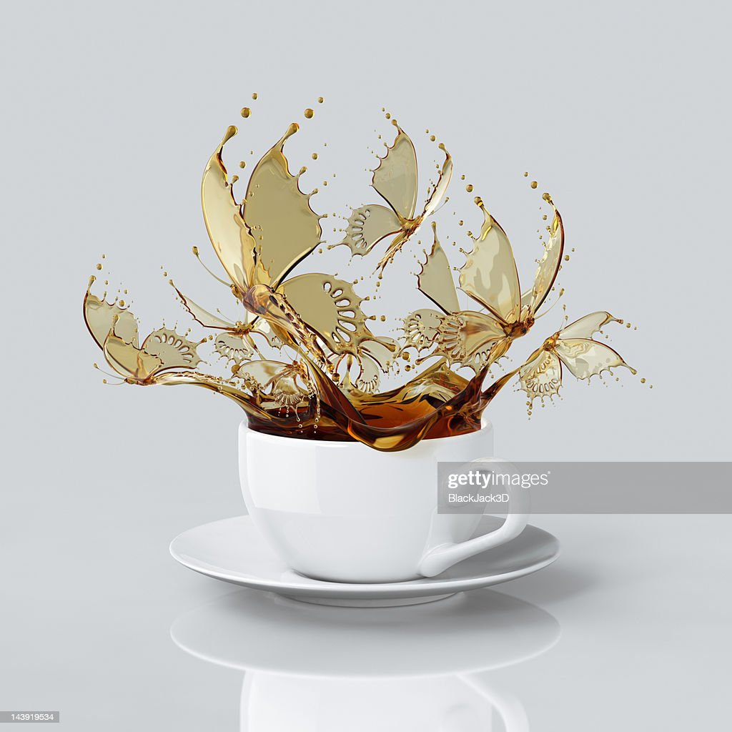 Splash Of Coffee Butterflys In The Cup. : Stock Illustration