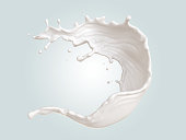 Splash of white milk , 3d illustration with clipping path.