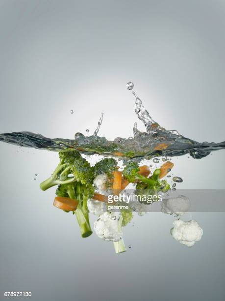 splashes and vegetables