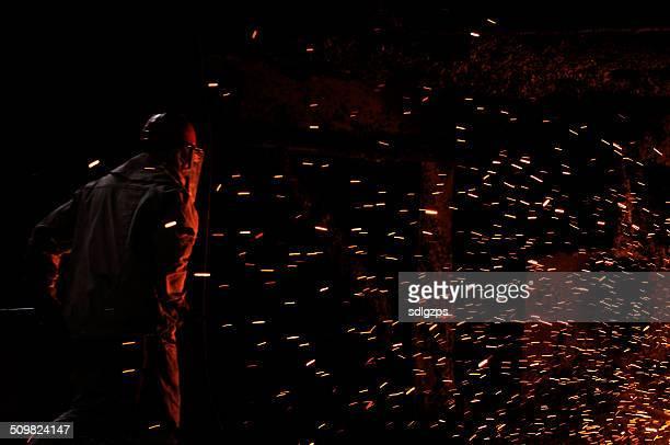 Splashes of molten iron