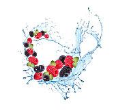 Fresh fruit in water splash, falling mix berries, Abstract water splash with fresh fruits