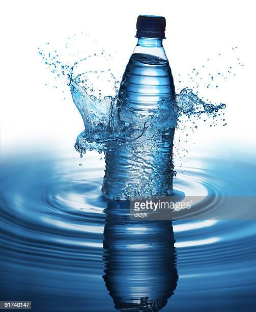 Splashing bottle of water