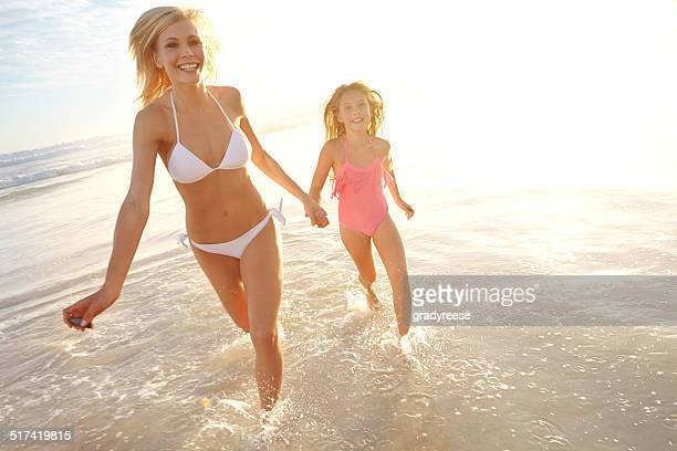 Splashing in the surf with mom