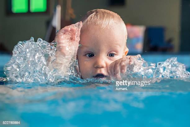 Splashing in the swimming pool!