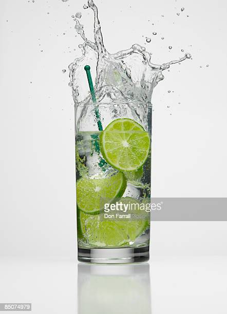 Splashing lime drink