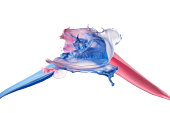 Splashing of pink and blue paint