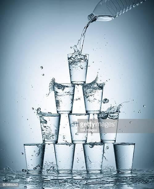 Splashing water glasses