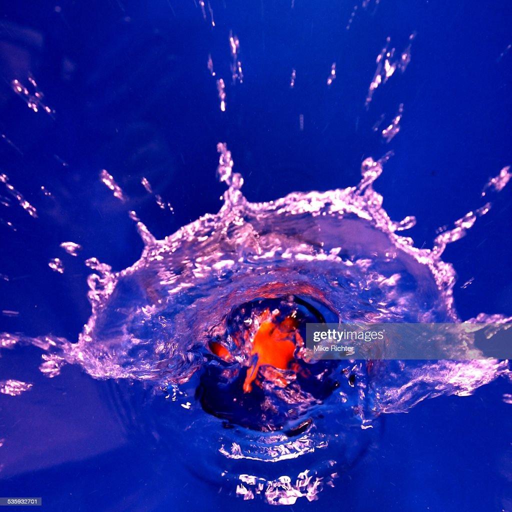 splashing water - Orange : Stock Photo