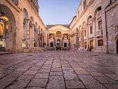 Cobble stone street in a square in Split Croatia