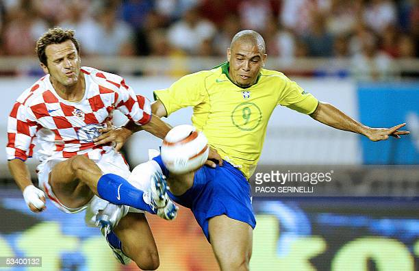 Ronaldo of Brazil fights for the ball with Stjepan Tomas of Croatia during their friendly football match Croatia/Brazil at the Hajduk stadium in...