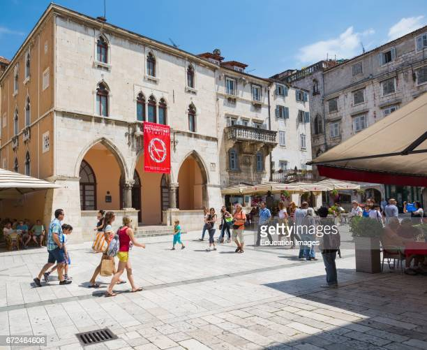 Split Dalmatian Coast Croatia People's Square The red banner hangs from the 15th century Renaissance Town Hall The Historic Centre of Split is a...