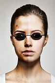 Split face showing digital manipulation