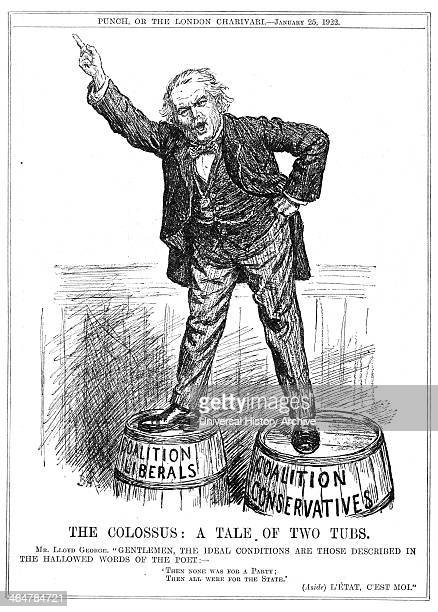 Lloyd George trying to persuade both factions to unite under him Cartoon from 'Punch' London 15 January 1922