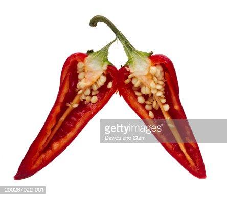 Split jalapeno pepper : Stock Photo