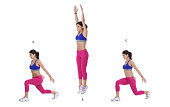 Step by step instructions: Begin in a lunge stance with your left leg forward. (A) Push through both feet and jump up. (B) Land in a lunge position, this time with your right leg in front. (C)