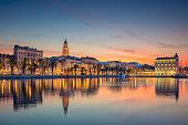 Beautiful romantic old town of Split during beautiful sunrise. Croatia,Europe.