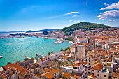 Split waterfront and Marjan hill aerial view, Dalmatia, Croatia