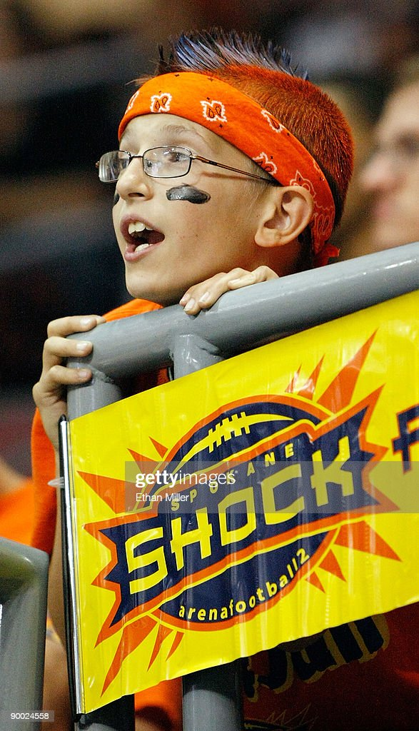 Spokane Shock fan Cooper James watches the Shock take on the Wilkes-Barre/Scranton Pioneers during the AFL2 ArenaCup 10 at the Orleans Arena August 22, 2009 in Las Vegas, Nevada. The Shock defeated the Pioneers 74-27.