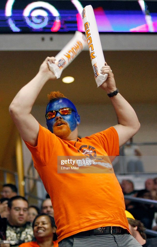 Spokane Shock fan Dan Bauge celebrates after the Shock scored a touchdown against the Wilkes-Barre/Scranton Pioneers during the AFL2 ArenaCup 10 at the Orleans Arena August 22, 2009 in Las Vegas, Nevada. The Shock defeated the Pioneers 74-27.