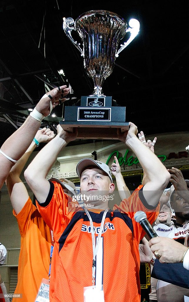 Spokane Shock owner Brady Nelson holds up the trophy after his team's 74-27 victory over the Wilkes-Barre/Scranton Pioneers in the AFL2 ArenaCup 10 at the Orleans Arena August 22, 2009 in Las Vegas, Nevada.