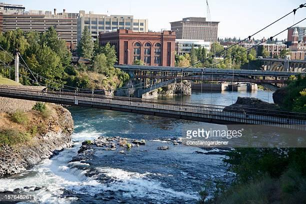 Spokane Washington Bridges And Waterfall
