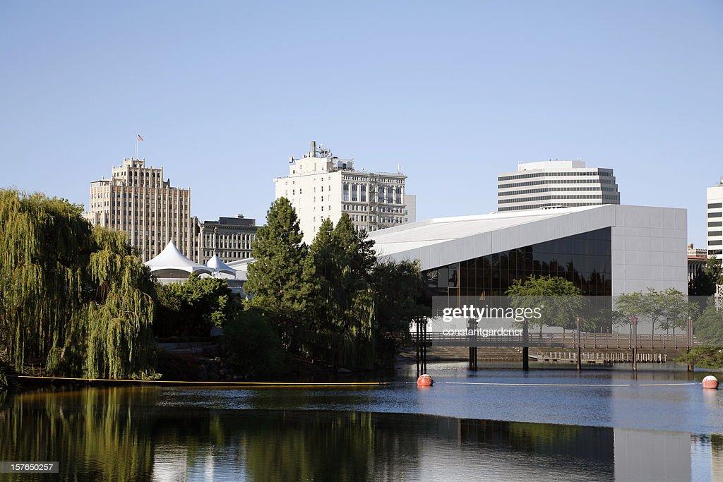 Spokane Washington Skyline With River And Performing Arts Center