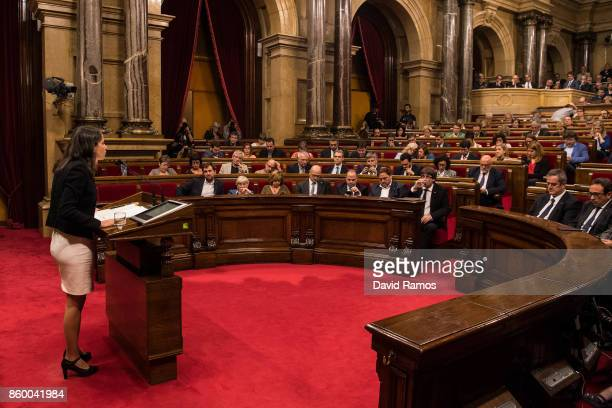 Spokeperson of Ciudadanos party Ines Arrimadas speaks to the Catalan Parliament on October 10 2017 in Barcelona Spain After the October 1 referendum...