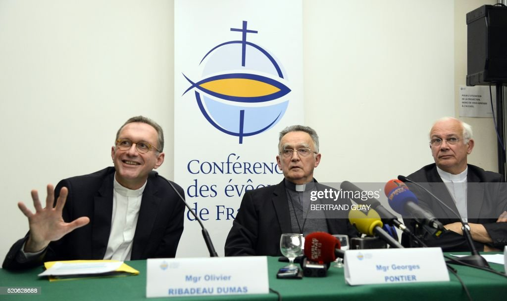 Spokesman for France's bishops Olivier RibadeauDumas archbishop of Marseille and president of the French bishops conference Georges Pontierand and...