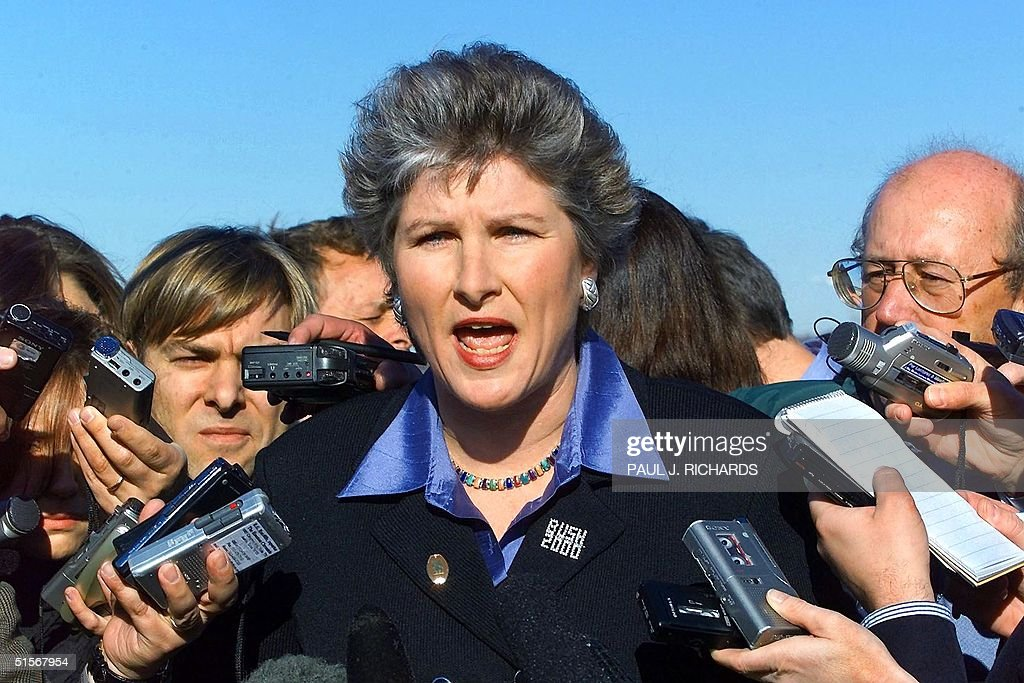 Spokesman for Republican presidential candidate Texas Governor George W Bush Karen Hughes delivers a statement to the media at Kent County...