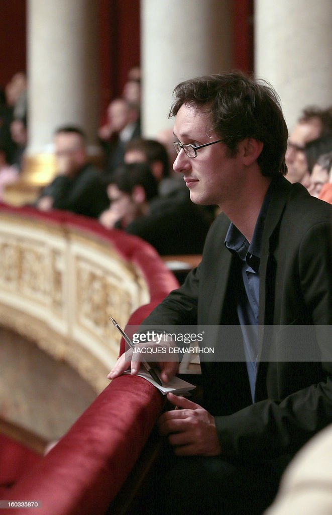 spokesman, French Nicolas Gougain, attends the debate to legalize same-sex marriage on January 29, 2013 at the National Assembly in Paris. The French National Assembly is due to begin a marathon debate on legalising same-sex marriage after months of public protests and counter-protests.