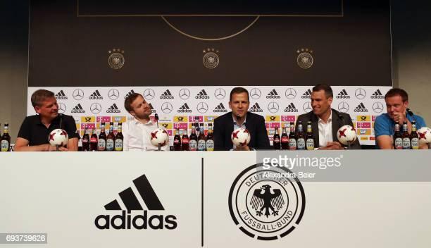 DFB spokesman Jens Grittner former German hockey national team player Max Mueller manager of the German national soccer team Oliver Bierhoff CEO of...