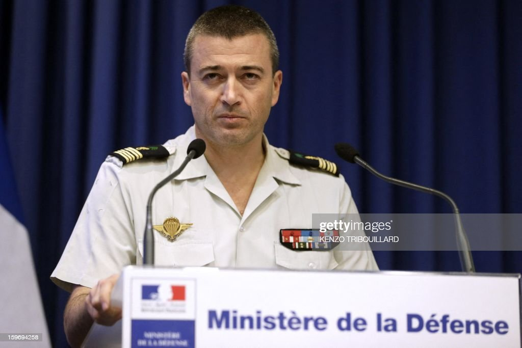 Spokesman of French army general staff Thierry Burkhard gives a press conference on the operation in northern Mali, on January 18, 2013 in Paris. France confirmed today that Malian troops had taken control of the key central town of Konna from armed Islamists who seized the country's vast desert north in April last year. The town was taken last Friday by Islamist groups, generating fears the capital Bamako could be vulnerable and triggering the French intervention. AFP PHOTO/ KENZO TRIBOUILLARD