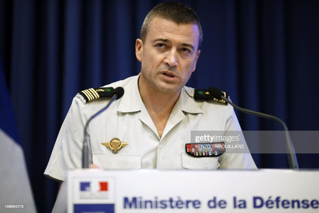 Spokesman of French army general staff Thierry Burkhard gives a press conference on the operation in northern Mali, on January 18, 2013 in Paris. France confirmed today that Malian troops had taken control of the key central town of Konna from armed Islamists who seized the country's vast desert north in April last year. The town was taken last Friday by Islamist groups, generating fears the capital Bamako could be vulnerable and triggering the French intervention.