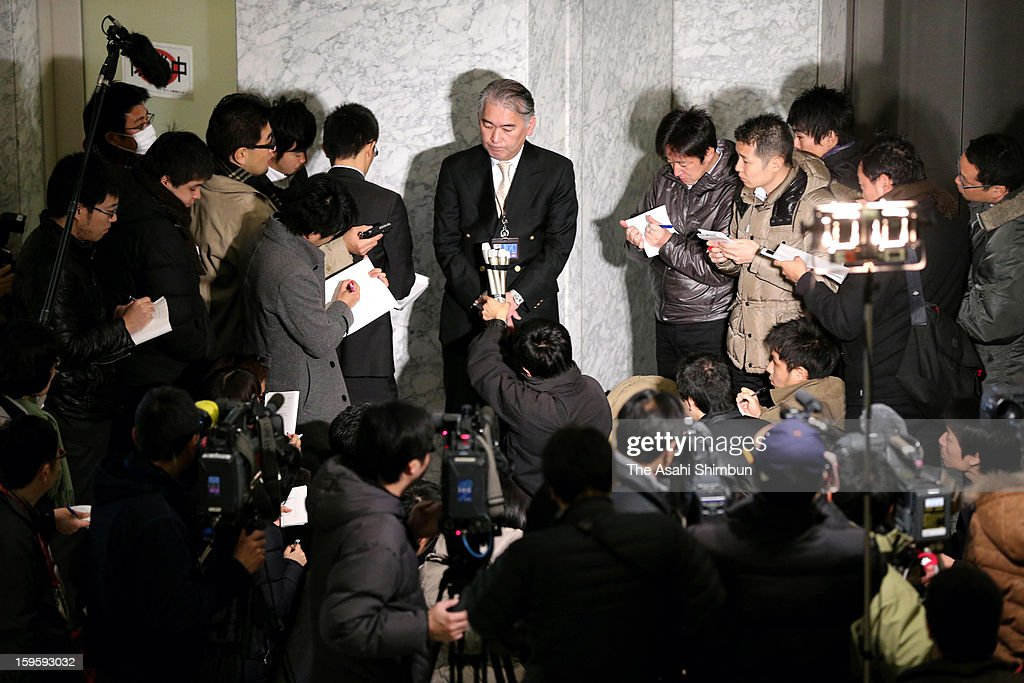 Spokesman of oil and refining plant construction company JGC Co, speaks to media reporters at their headquaters on January 17, 2013 in Yokohama, Kanagawa, Japan. Islamic armed group in Algeria are holding foreign hostage, including Japanese, possibly three of them are the company employees.
