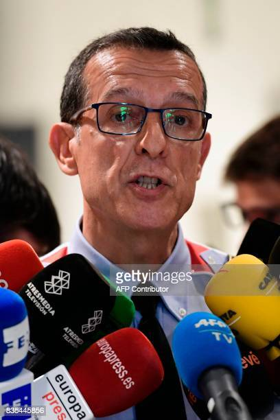 Spokesman of the Catalan regional police 'Mossos D'Esquadra' Albert Oliva speaks as he makes a statement following the Barcelona and Cambrils attacks...