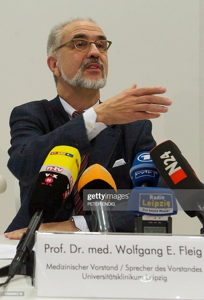 Spokesman of the medical office of the University hospital Leipzig, Wolfgang E Fleig, speaks at a press conference in Leipzig, eastern Germany, on January 2, 2013. Reports state, that more than 30 cases had been uncovered at the hospital in which patients were falsely labeled as needing dialysis in order to improve their chances of receiving a new organ quickly. Photo: PETER
