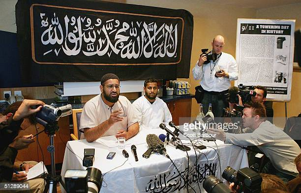 Spokesmen for the controversial Islamic group AlMuhaajiroun Anjem Choudrey and Abu Saah talk to the media during a press conference on September 11...