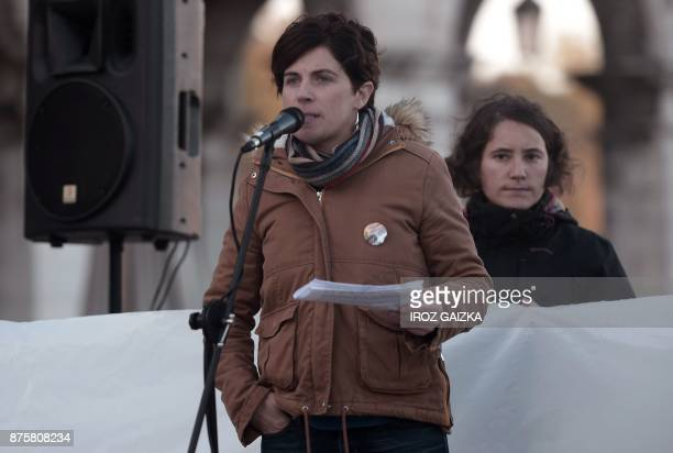 Spokesperson for the Basque separatist party 'Sortu' Anita Lopepe speaks during a demonstration in support of Catalan independence in Bayonne on...