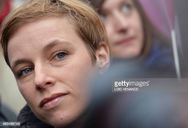 Spokesperson of French Left party Ensemble Clementine Autain looks on during a demonstration in support of the Greek people on February 15 2015 in...