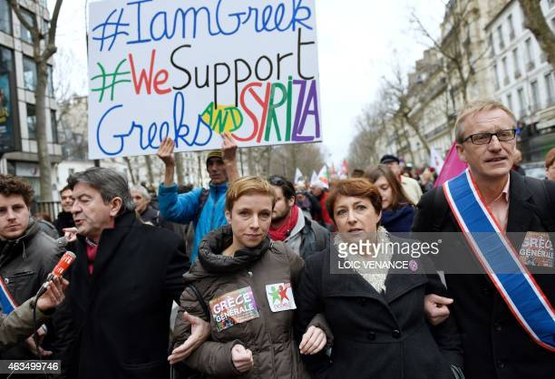 Spokesperson of French Left party Ensemble Clementine Autain marches during a demonstration in support of the Greek people on February 15 2015 in...