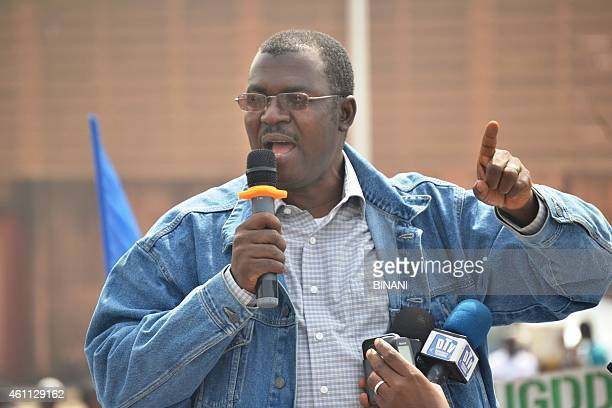 Spokesperson of the Guinean opposition Aboubacar Sylla delivers a speech during an opposition meeting on January 7 2015 in Conakry Clashes broke out...