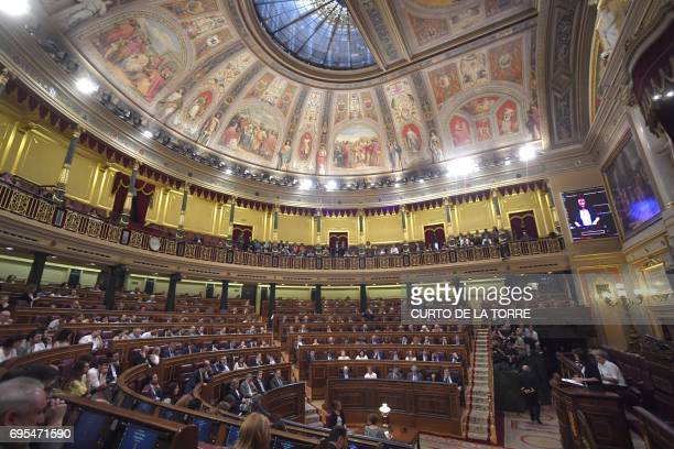 Spokeswoman in the lower house for the antiausterity party Podemos Irene Montero speaks at the Congress of Deputies in Madrid on June 13 2017 before...