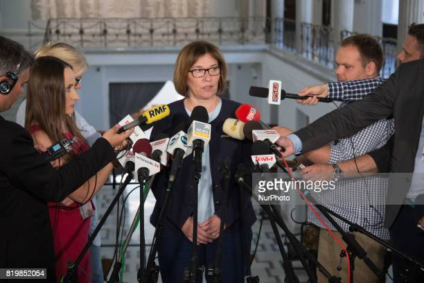 Spokeswoman of now ruling Law and Justice party Beata Mazurek at lower house of Polish Parliament in Warsaw Poland on 19 July 2017