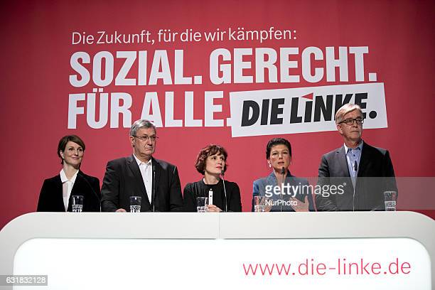 Spokeswoman Sonja Giese CoChairmans of parliamentary group Sahra Wagenknecht and Dietmar Bartsch and Coleaders of Die Linke party Bernd Riexinger and...