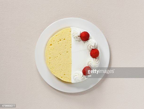 Sponge cake and strawberry cake,aerial view