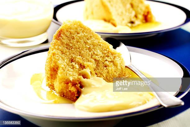 Sponge pudding with custard
