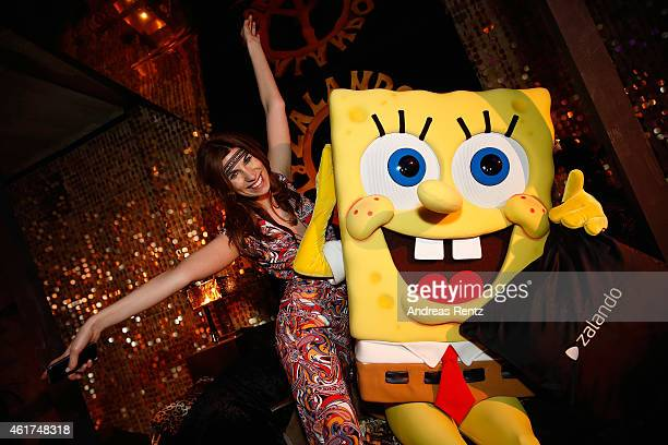 SpongeBob and a guest attend the Dandy Diary Zalando Fashion Week Party at Moeckern 120 on January 18 2015 in Berlin Germany