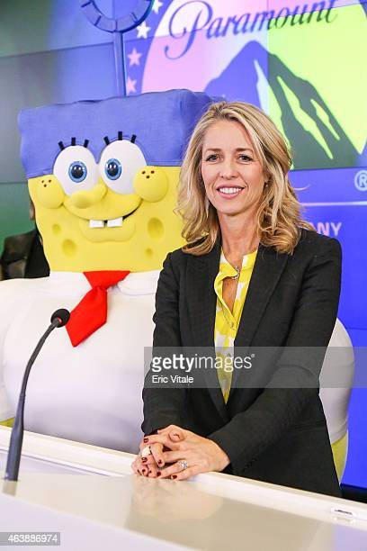 SpongeBob and Chief Marketing Officer and President of Consumer Products Nickelodeon Group Pam Kaufman attend 'The SpongeBob Movie Sponge Out Of...