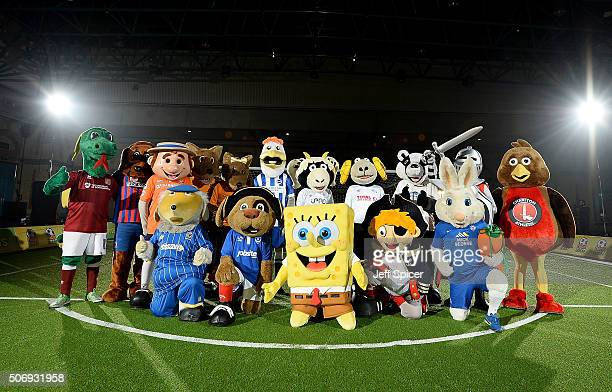 Spongebob Squarepants and 15 mascots from The Football League prior to taking part in a Guinness World Records attempt for the most football penalty...