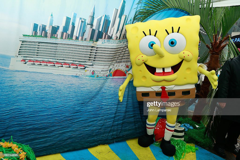 SpongeBob SquarePants attends the Norwegian Warming Station launch in Times Square on January 28, 2013 in New York City.
